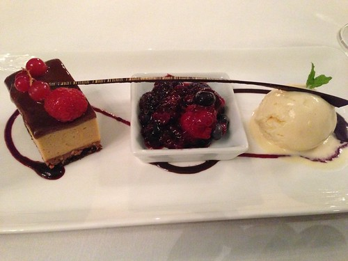 Caramel cake, berry coulis, housemade ice cream