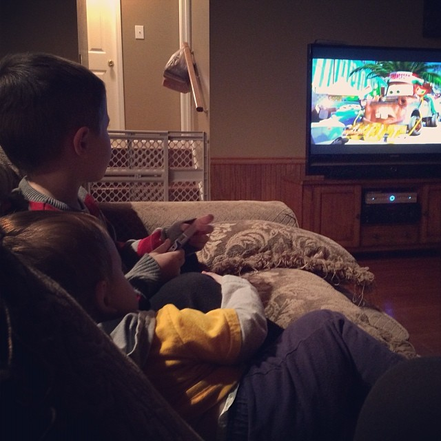 #latergram from last night. Watching Cars 2 with my cuties at the #lakehouse. Love my little boys. #brothers #familyvacation