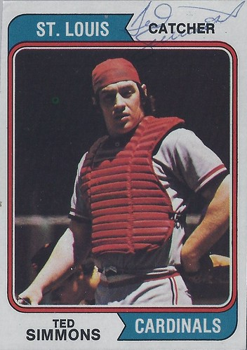1974 Topps - Ted Simmons #260 (Catcher) - Autographed Baseball Card - (also signed on the back) (St. Louis Cardinals)