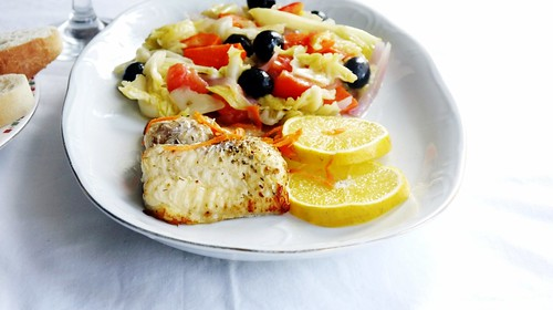 A healthy plate: Grilled Catfish with Sauteed Cabbage