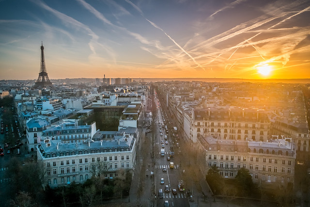 Sunset over Paris from the Arc de Triomphe with Eiffel Tower