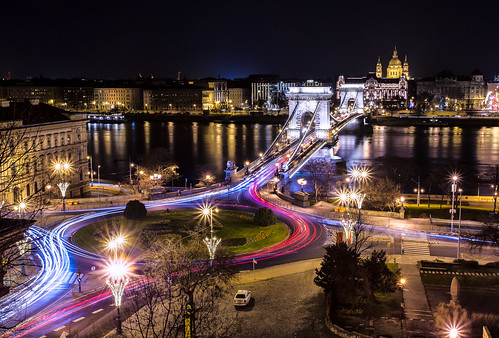 city longexposure bridge light urban trafficlights streets color building cars skyline architecture night canon river photography town hungary cityscape view nightshot traffic budapest perspective ungarn danube kettenbrücke donau vantagepoint 6d chainbridge lightstream ststephansbasilika
