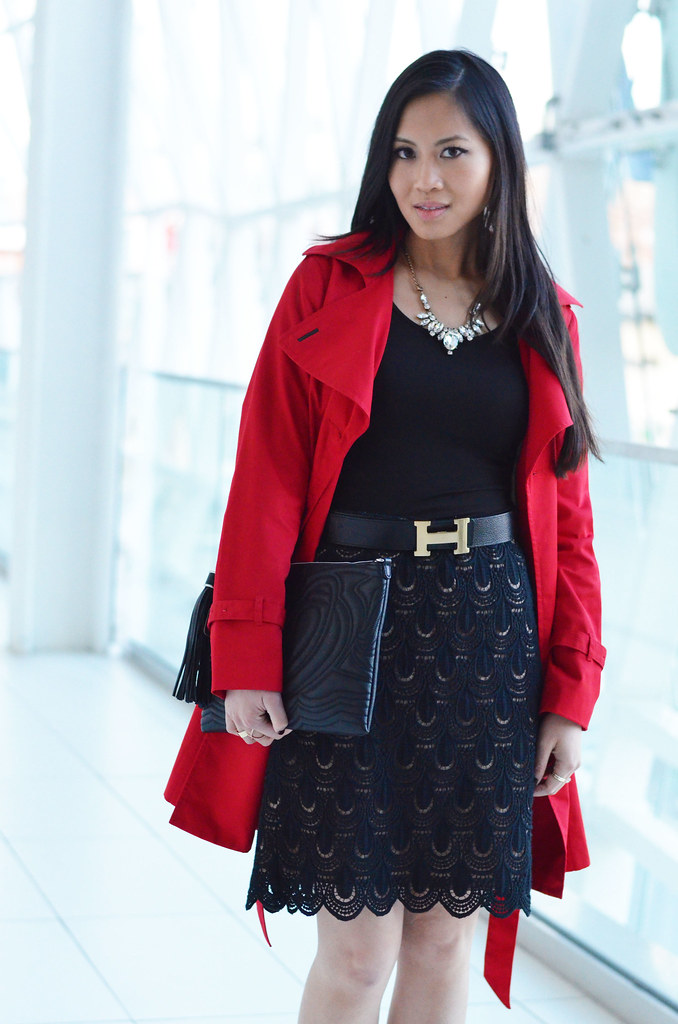 Ann Taylor teardrop lace black pencil skirt, red trench coat