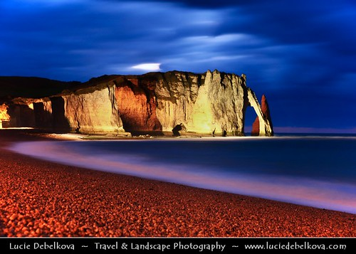 France - Normandy - Haute-Normandie - Étretat - Stunning white cliffs at Dusk - Twilight - Blue Hour