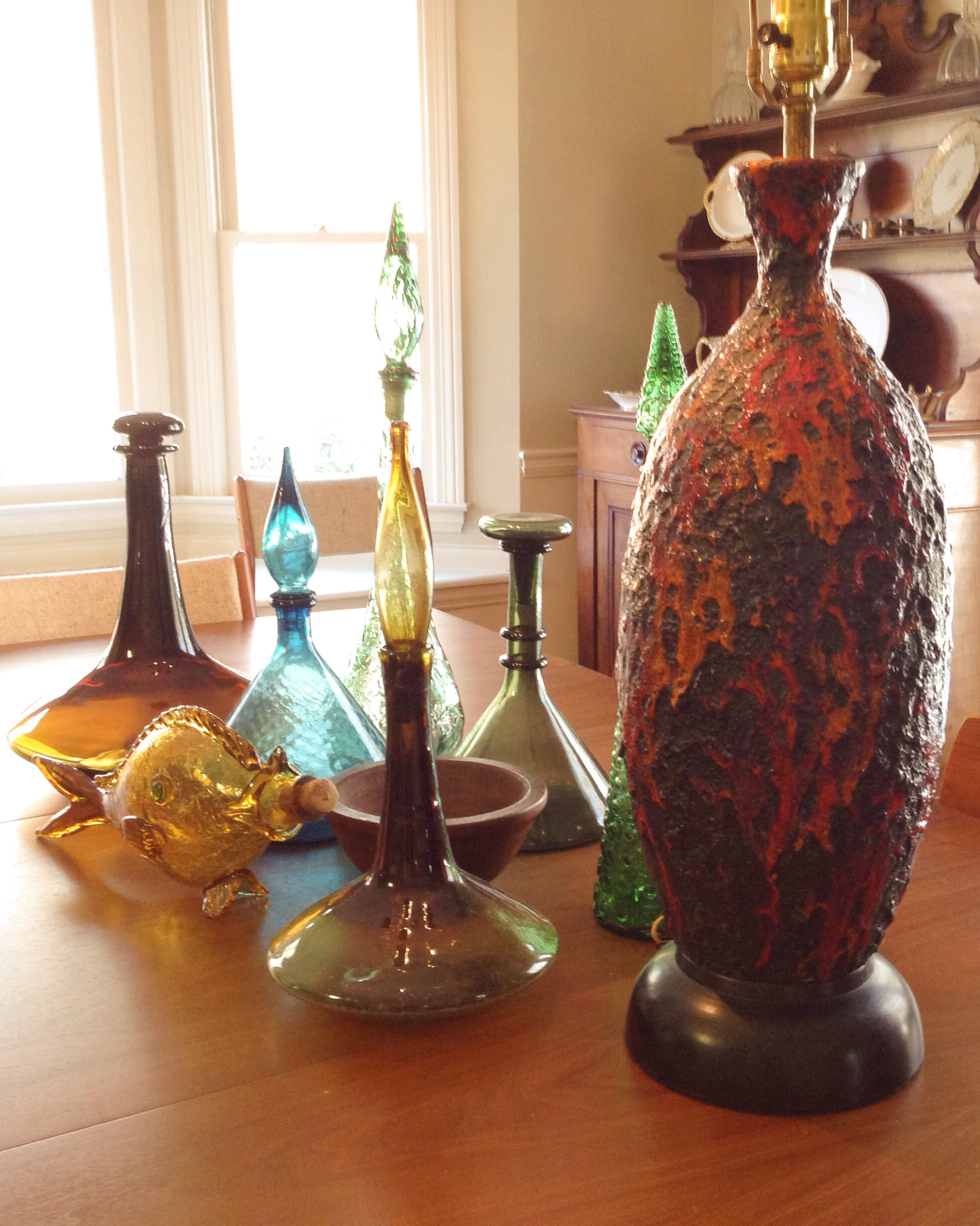 collection of mid century decanters
