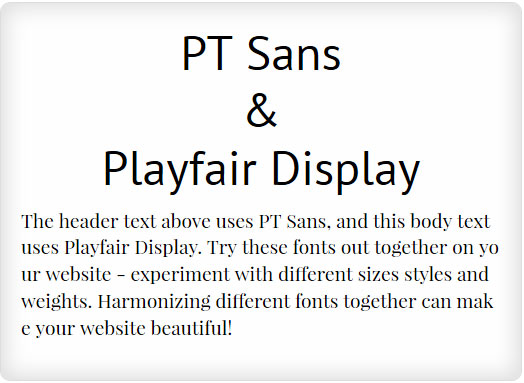 PT Sans and Playfair Display