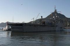 USS Denver (LPD 9) pulls away from the pier at Fleet Activities Sasebo, Japan, Jan. 27. (U.S. Navy photo by Mass Communication Specialist 2nd Class Adam D. Wainwright)