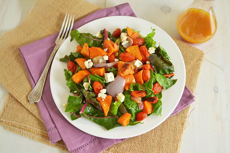 Winter Sweet Potato Salad with Blood Orange Vinaigrette via LittleFerraroKitchen.com