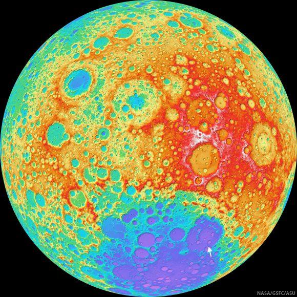 Columbia crater group, lunar farside (LROC WAC DTM)
