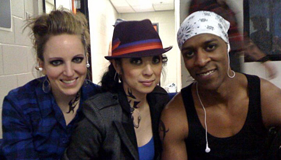 Dayna with fellow tappers before performing.
