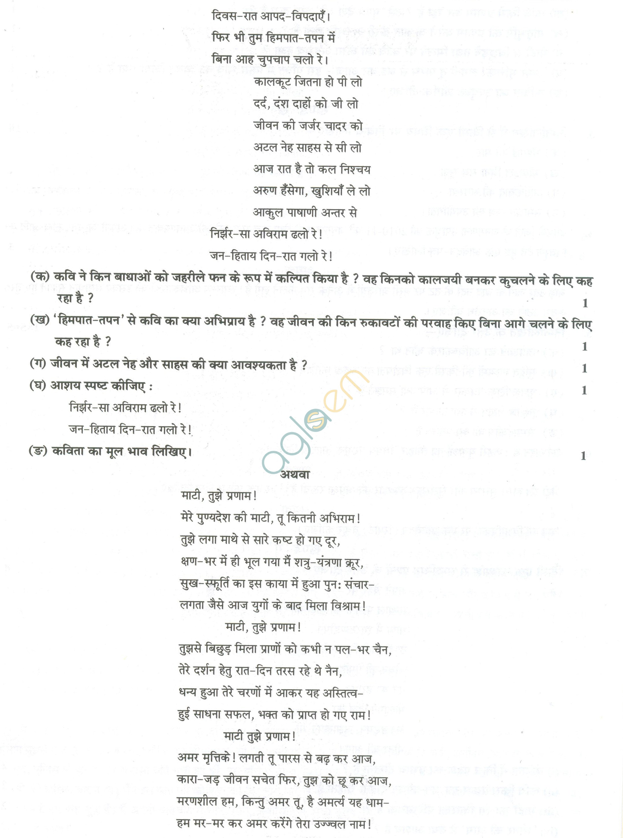 CBSE Sample Papers for Class 11 Hindi (Solved) - Set B