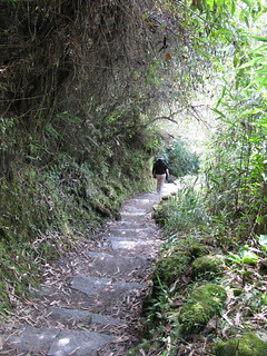Hiking down from Machu Picchu
