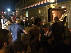 Crazy bikers getting off a train