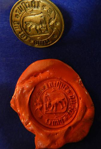 a seal in the museum at Ruines de Montaigle, Belgium