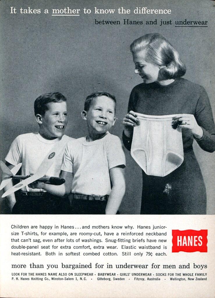 1960 Hanes Underwear Advertisement Readers Digest August 1960