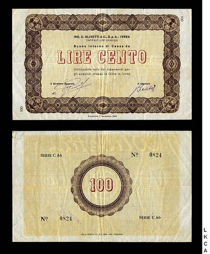 1944 Olivetti Company 100 lira note