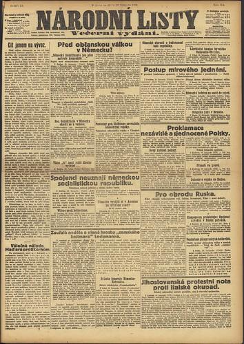 Narodni Listy 30 November 1918 (National Library Czech Republic)