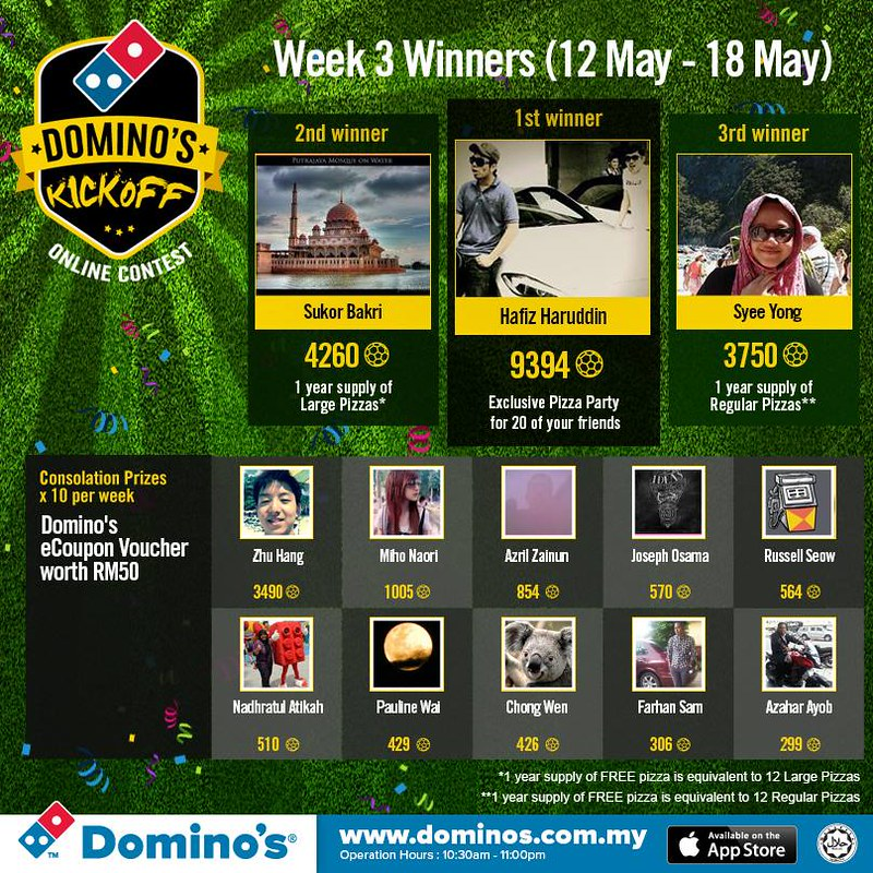 dominos weekly football wnners