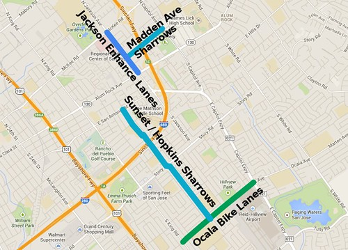 San Jose bikeway projects 2014 with labels this time