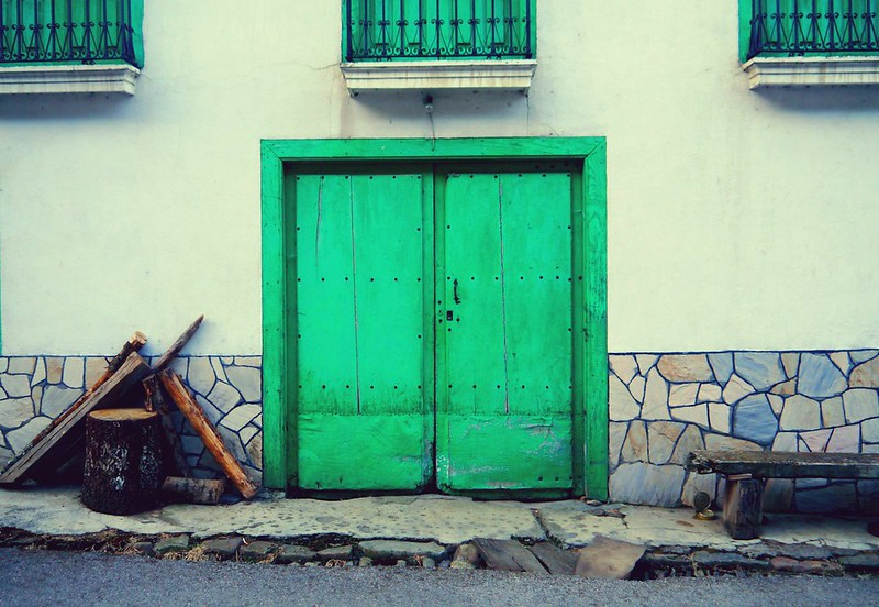 green Spanish door