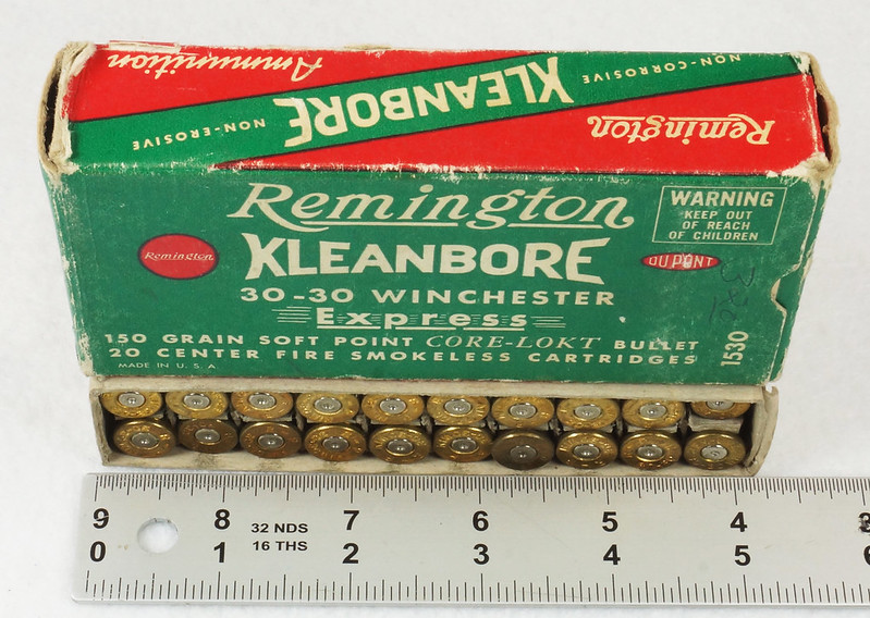 RD14567 Vintage Remington KLEANBORE 30-30 Express 150 gr. Soft Point SMOKELESS Ammo Box & 20 Brass Casings DSC06977