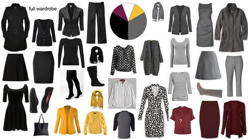 wardrobe building - black, gray, wine and mustard