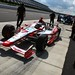 Sebastien Bourdais waits on pitlane for the open test to continue at Pocono Raceway