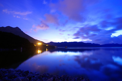 blue sky cloud mountain reflection water rock night purple cloudy midnight