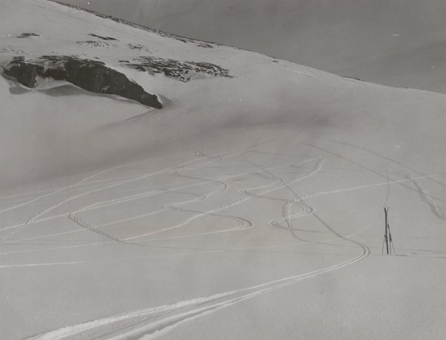 Sub-Antarctic ski run on the slopes of Mt. Drygalski, Heard Island, Antarctica, 1948