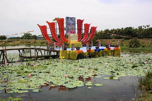 a makeshift shrine for Buddha's birthday
