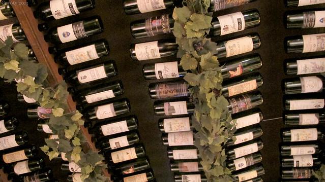 Ceiling wine bottles
