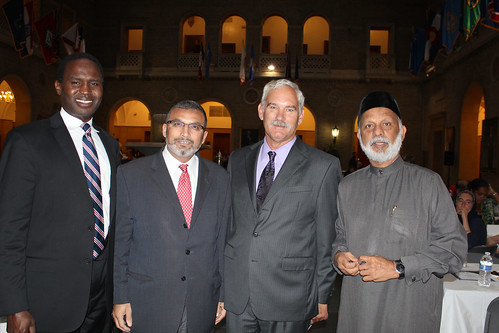 Pictured (Left to Right) Dr. Mohamed El-Sanousi, Director of Communications and Community Outreach of the Islamic Society of North America, Dr. Abed Ayoub, President of Islamic Relief USA, Michael Scuse, then-acting Deputy Secretary of Agriculture and Imam Faizul Khan of the Islamic Society of the Washington Area