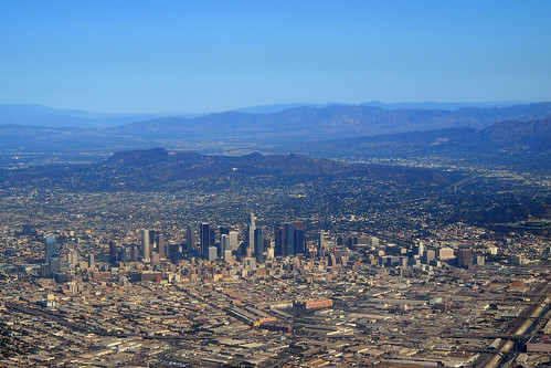 california skyline los downtown day view angeles sunny aerial clear