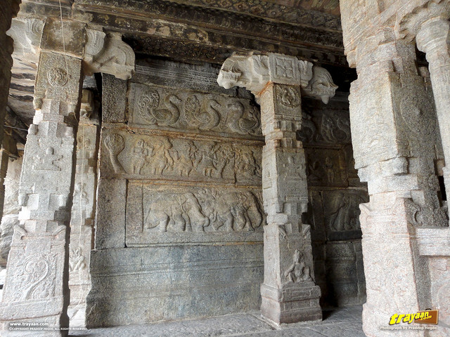 Beautiful carvings inside the Veerabhadra Swamy Temple at Lepakshi, in Andhra Pradesh, India