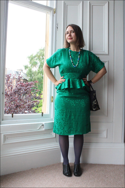 vintage eighties peplum silk dress