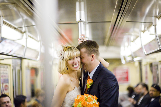 KateRussWedding_on the subway_photo by Augie Chang