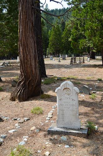 A headstone in a graveyard.