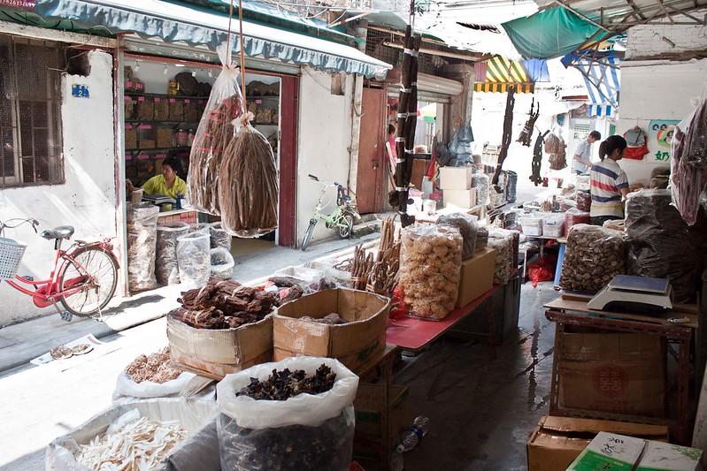 Puesto en el mercado de Qingping.