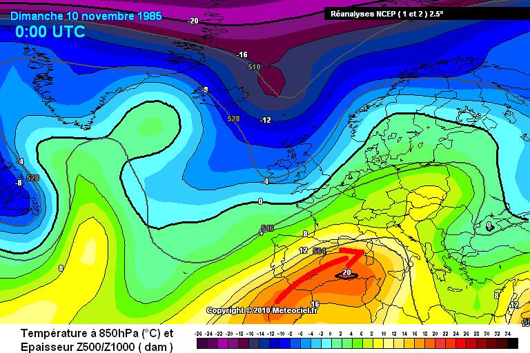 carte des masses d'air des records mensuels absolus de chaleur en Corse le 10 novembre 1985 météopassion