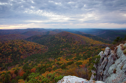 autumn trees sunset cliff mountain color fall nature leaves rock landscape evening unitedstates natural pentax arkansas hdr pinnacle ouachita k5 flatside satuma