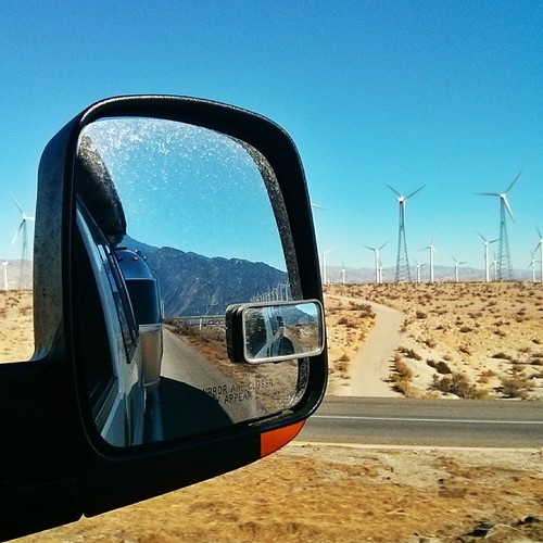 On the road again. We finally got the upper hand on the flu and are heading back to the desert for the remaining few days before it's turkey time. #ihateturkey #thanksforallthewellwishes #airstream #airstreamintherearview #malimishintherearview #windfarm