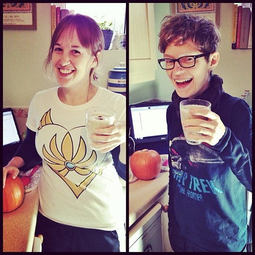 Geeking out on pecan pie smoothies in our respective geeky t-shirts.