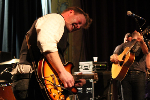 The Lone Bellow's Brian Elmquist, Zach Williams playing