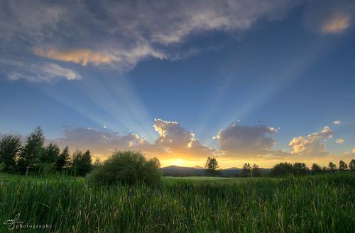 blue sunset sky sun green clouds oregon reeds evening nikon day horizon fair rays nikkor radiate sunriver beams hdr mountian partlycloudy stratocumulus cascaderange mountbachelor deschutesnationalforest 2013 d7000 100240mmf3545 pwpartlycloudy