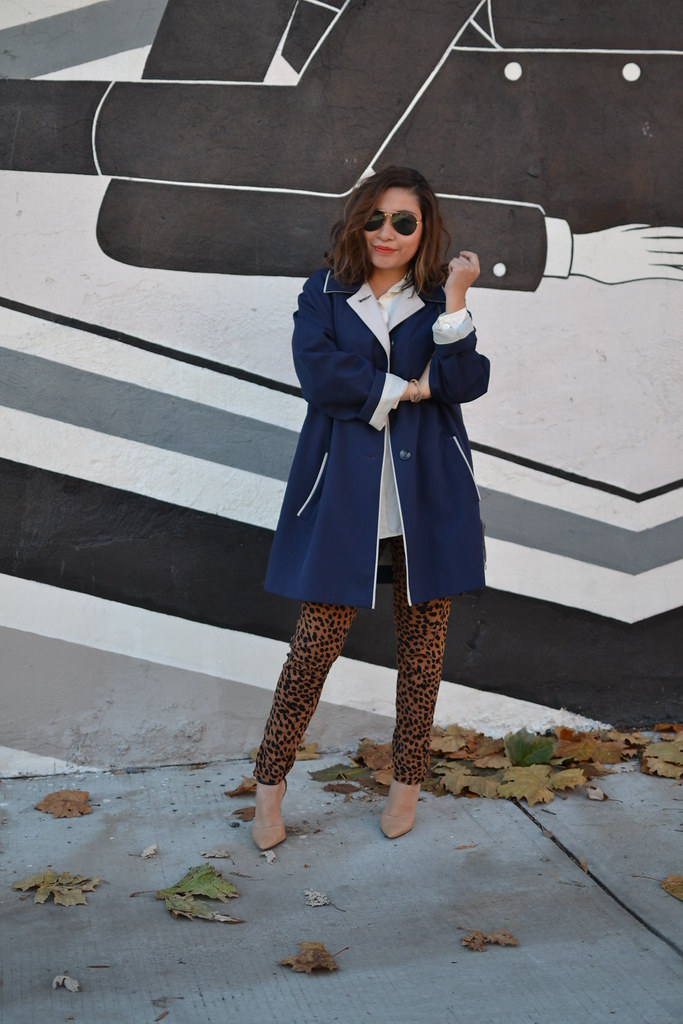 Spicy Candy DC, Leopard Print Trousers, Blue Trench Coat 010