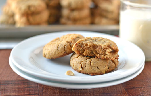 Healthy Peanut Butter Cookies. Chewy, soft, and made with whole wheat flour.