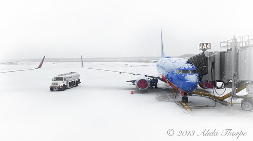 Islip Airport, Snowy Day by Alida's Photos