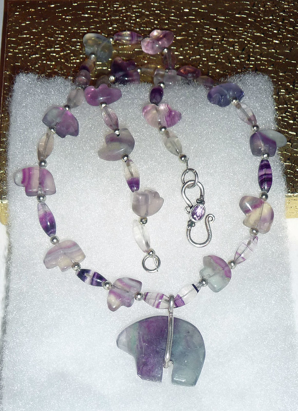 Fluorite Bear Necklace
