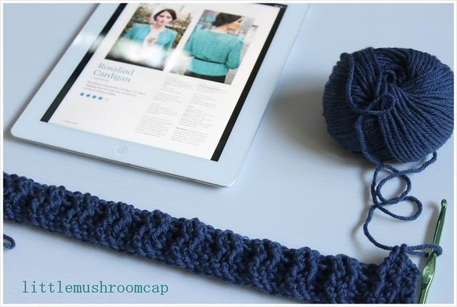 Crochet Rosalind cardigan - first progress Jan week1_angle photo