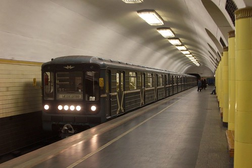 Arriving train at a suburban Moscow Metro station